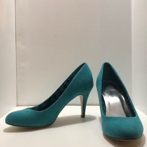 Style&Co teal suede heels, size 6